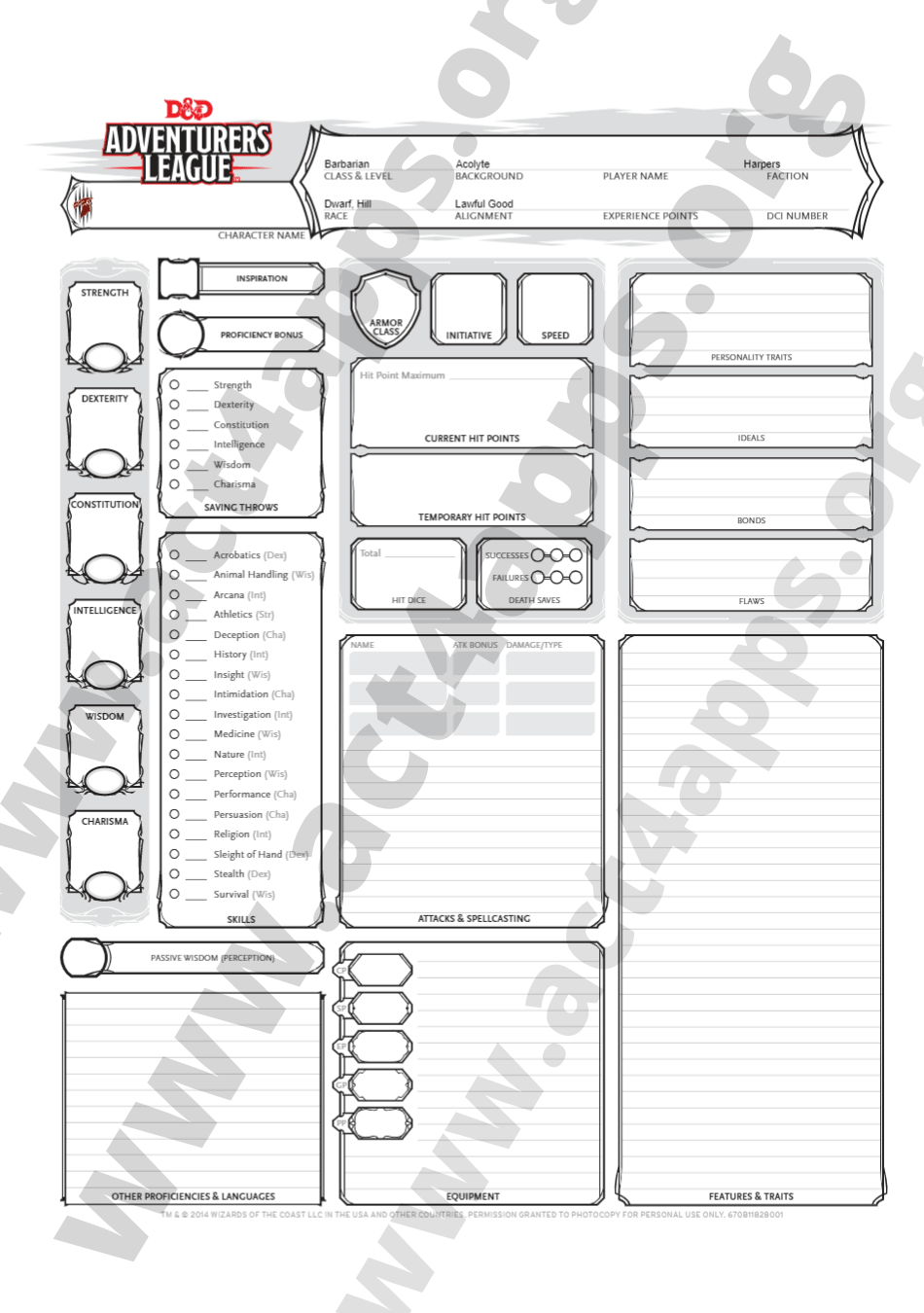 Dnd 5e Character Sheet Pdf Editable Fillable Downloadable Act4apps