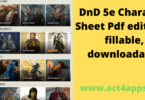DnD 5e Character Sheet Pdf editable, fillable, downloadable