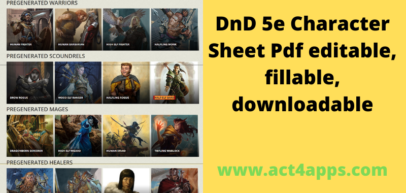 DnD 5e Character Sheet Pdf editable, fillable, downloadable