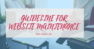 GUIDELINE FOR WEBSITE MAINTENANCE